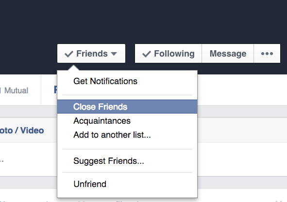 Adding friends to Close Friends list on Facebook